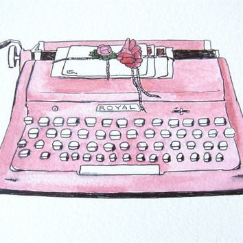 pink typewriter bohemian art print boho decor from original watercolor and ink vintage royal quiet de luxe deluxe typewriter
