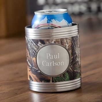 Tree Camo Koozie with Pewter Medallion