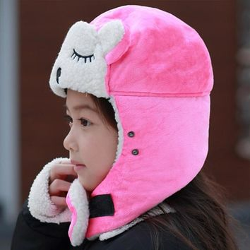 Cartoon Warm Bomber Hats for Kids Winter Hats Boys Girls Cap with Scarf Neck Cotton Snow Caps Fur Earflaps Russian Hats Mask