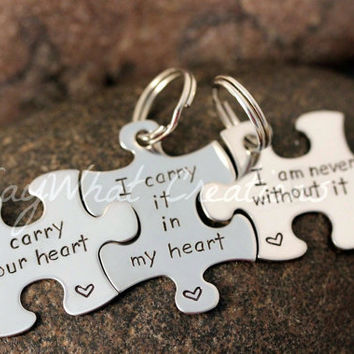 Custom Hand Stamped  Puzzle Piece Key Chains by SayWhatCreations
