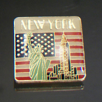Patriotic New York Lapel Pin Souvenir Jewelry Unisex Accessories American Flag Statue of Liberty Empire State Building