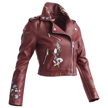Embroidery Faux Leather Coat Motorcycle Zipper Jacket Women Fashion Cool Outerwear Floral Street Jackets Long Sleeve