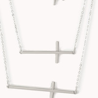 FOREVER 21 Layered Cross Necklace Silver One