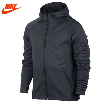 Nike Original Men's New Arrival Sport Jacket Breathable Hooded Knitted Warm Jacket Black and Grey