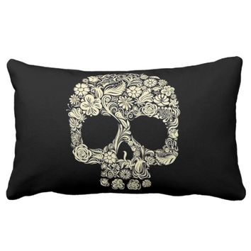 Floral Sugar Skull Lumbar Pillow
