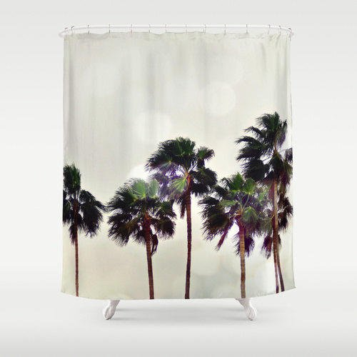 Palm tree family shower curtain light from nature city for Surf bathroom ideas