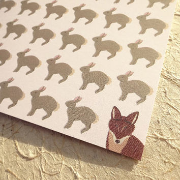 Wildlife greeting card, bunny and fox, this adorable hand-illustrated notecard features lots of bunny rabbits and one sly old fox, hmm