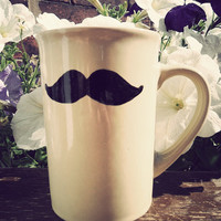 Geeks only moustache mug in pale yellow by Mr Teacup by MrTeacup
