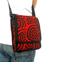 Crossbody Bag Messenger Bag Bohemian Bag Red Black Color Boho Bag Handmade Everyday Bag Purse Hippie Hobo Bag Thai Gift bag