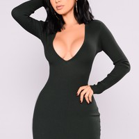 Sure Shot Knit Dress - Hunter Green
