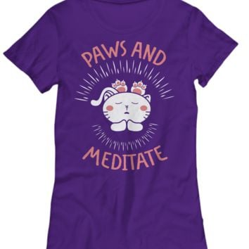 Paws and Meditate Cat Lovers Women's T-Shirt