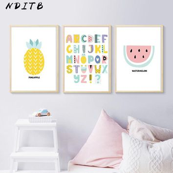 A to Z Alphabet Canvas Posters Cartoon Fruit Nurser Print Wall Art Painting Nordic Kids Decoration Pictures Baby Bedroom Decor