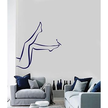 Vinyl Decal Gorgeous Shapely Female Legs Butterfly Care Wall Sticker Unique Gift (n481)