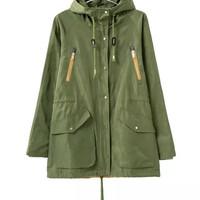 Army Green Hooded Drawstring Zipper Jacket