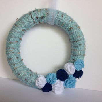 Baby Boy Wreath, Blue Yarn Wreath, Felt Flower Wreath - 12 inches
