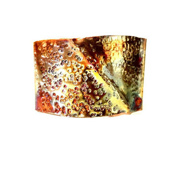 Copper Patina Cuff Bracelet Fold Form Copper Cuff Yellow Orange Red Patina Wide Copper Cuff Warm Earth Tone Antique Copper