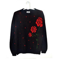 Vintage Red Rose Sweater Black Floral Pullover Womens 90s Jumper Large L