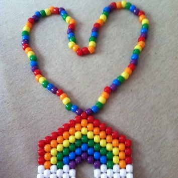 Adorable Pride Rainbow Kandi Rave Necklace PLUR