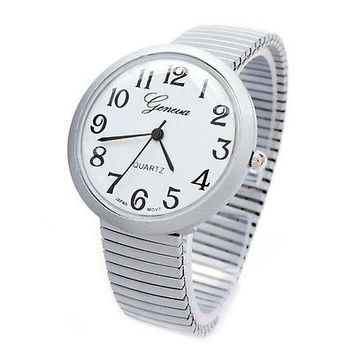 Gray Metallic Med Size Round Face Stretch Band Women's Watch