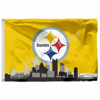 Pittsburgh Steelers With Pittsburgh City Skyline Flag 3ft X 5ft Polyester NFL Pittsburgh Steelers Banner Flying