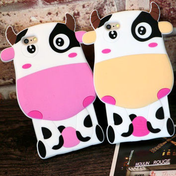 For iphone 6 6plus phone case Cartoon milk cow  mobile phone Soft silica gel Lover Couples Phone Cover FOR IPHONE 6 6PLUS 5/5S
