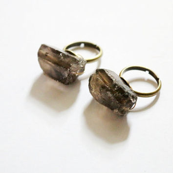Smoke quartz raw crystal antique gold ring, simple, natural, gem, unique eco friendly, geometric, boho chic, OOAK, vintage brass
