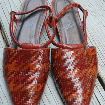 Vintage 80s 90s Enzo Angiolini Two Tone Basket Weave Houndstooth Flats Shoes Slingbacks Size 8.5 Medium