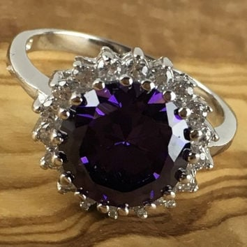 Sterling Silver Amehtyst White Sapphire Round Halo Engagement Ring