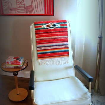 VINTAGE MEXICAN TAPESTRY - Vivid Rainbow Serape Stripe Wool Weaving with Fringe Edge - Made in Ciudad Juárez - Casa Medina