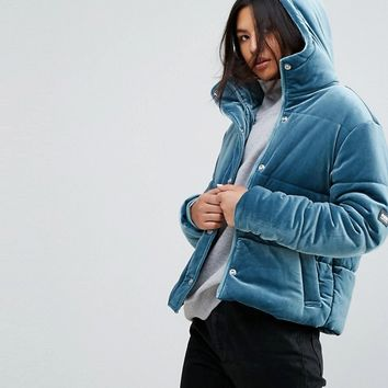 Puffa Oversized Jacket With Hood In Velvet at asos.com