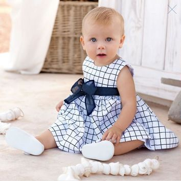 Summer Baby Dresses 2017 New Casual Newborn Dress for Babies Sleeveless Vest Baby Girls Clothes with Sashes