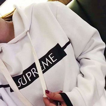 DCCKN6V Supreme Fashion Casual Long Sleeve White Letter Print Hooded Crop Tank Sweater G-A-XYCL