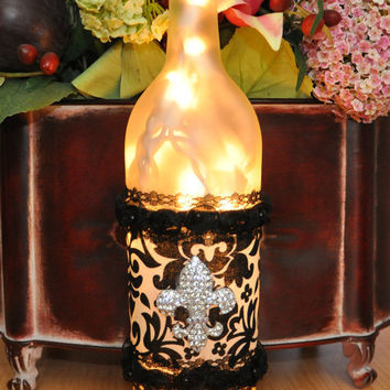 Fleur de Lis Lighted Frosted Wine Bottle Lamp by TipsyGLOWs