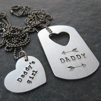 Daddy and Daddy's Girl Necklace Set, aluminum dog tag, medium heart necklace, ddlg, bdsm couple, customize text, please read listing