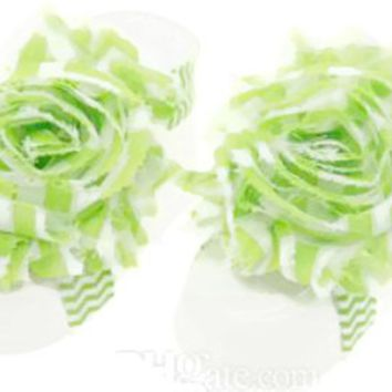 Shabby Chic Baby Toddler Barefoot Sandal Lime Green Chiffon Flower Elastic Foot Wear  2 Pc 1 Pair New Item
