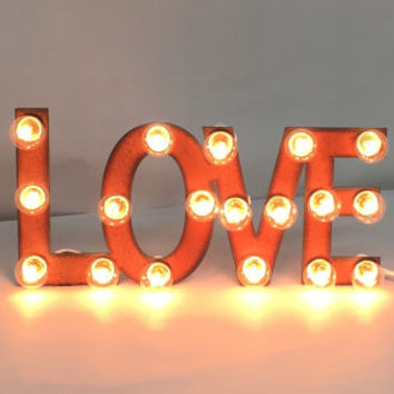 MINI MARQUEE LOVE Sign made of Rusted Recycled Metal Vintage Inspired