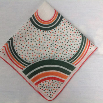 Vintage 40's Handkerchief Hankie Deco Green & Orange Clover and Polka-Dots