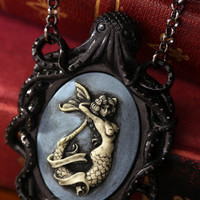 Cameo Necklace. Black Octopus Oval Cameo Blue Mermaid, Victorian Vintage Inspired, Valentines Gift
