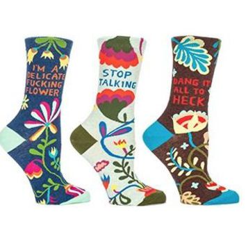 Quirky Florals Women's Crew Socks Gift Set Collection - 3 Pack