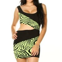 Sexy Clubwear Dress Neon Animal Print Side Cut Out Sleeveless Mini