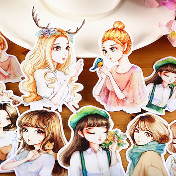 13pcs Self-made Mori Girl Scrapbooking Stickers Decorative Sticker DIY Craft Photo Albums Decals Diary Deco