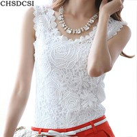 Summer Women Blouse Lace Vintage Sleeveless White Renda Crochet Casual Shirts Tops