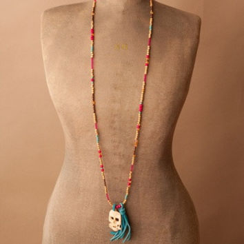 Beaded Sugar Skull Necklace