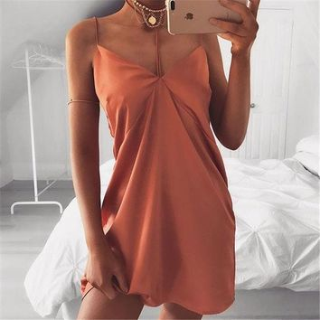 Patchwork Backless Wrap Spaghetti Strap One Piece Dress
