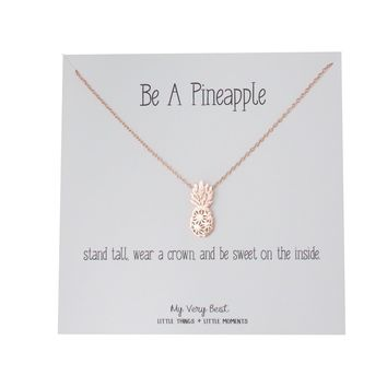 """My Very Best Dainty Pineapple Necklace """"Be A Pineapple_stand tall. wear a crown, and be sweet on the inside."""""""