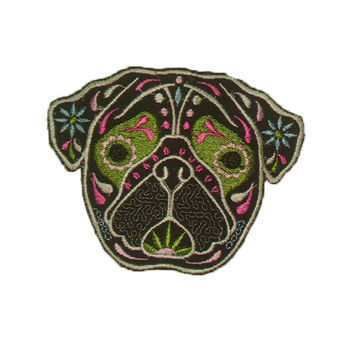 Pug Patch Cute Patch Sugar Skull Dog Animal Pretty embroidery Kids Patch