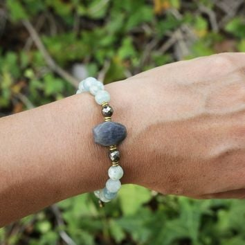 Aquamarine and Labradorite Adjustable Bracelet