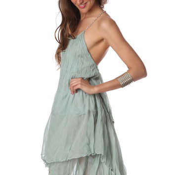 Q2 Green Cheesecloth Swing Dress