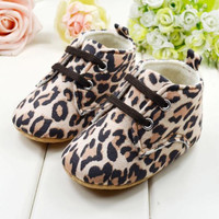 NWT Toddlers Soft Sole Leopard Crib Shoes Infant Baby Lace Up Prewalker Shoes NW