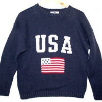 Fourth of July Independence Day Patriotic USA Flag Tacky Ugly Sweater Men's Size Medium (M) $12 - The Ugly Sweater Shop